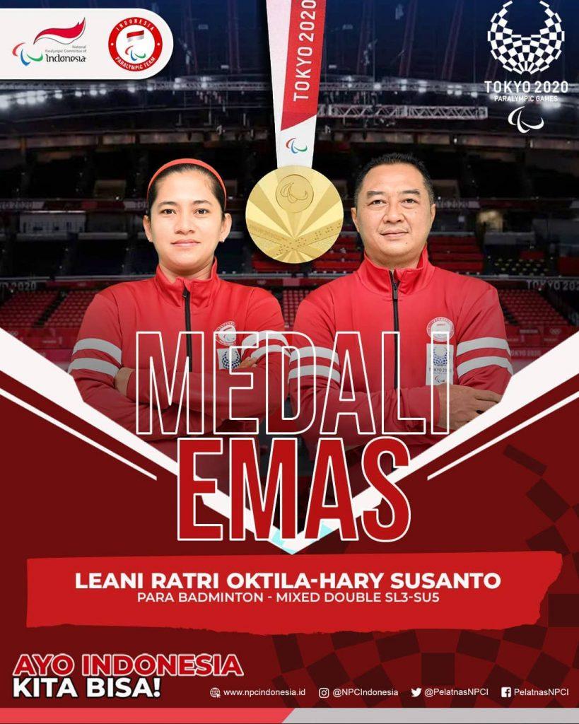 Ganda Campuran Hary/Leani Menyabet Medali Emas