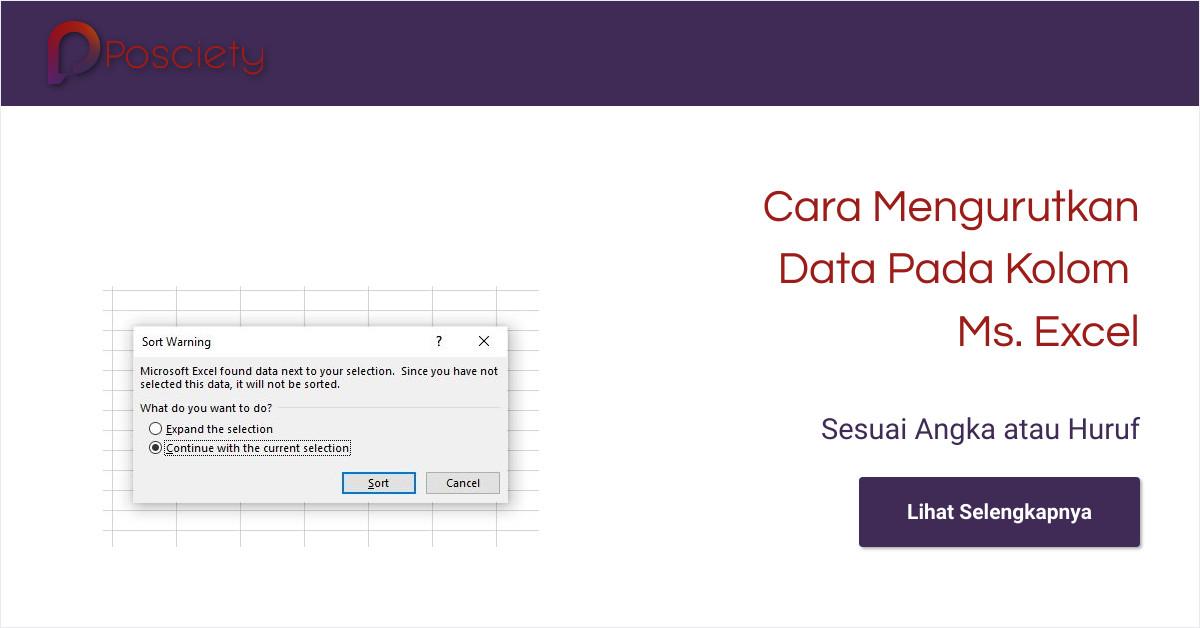 cara mengurutkan data pada kolom excel