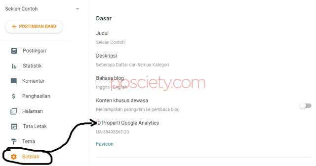 paste id pelacakan google analytics di blogspot