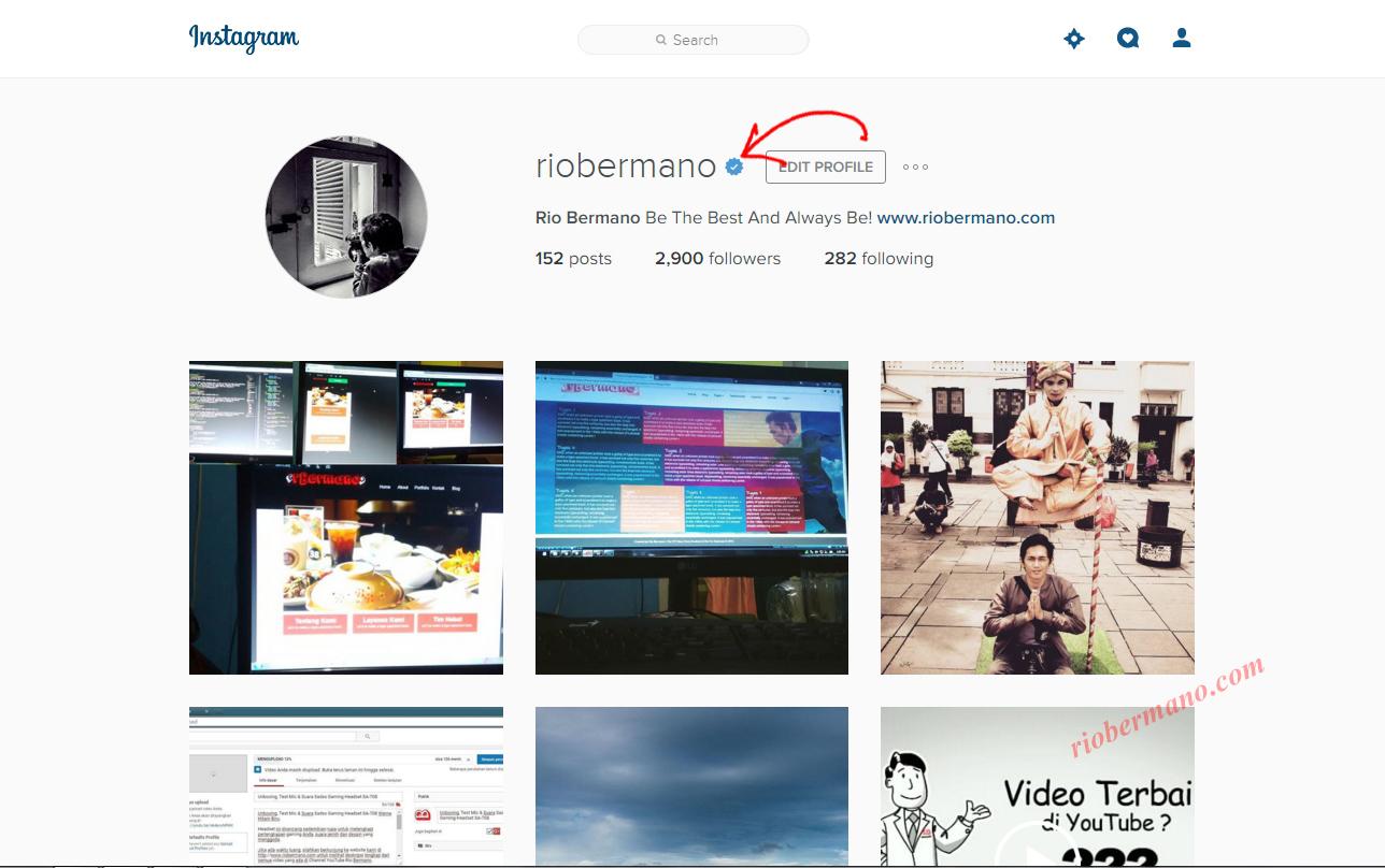 cara mendapatkan lambang verifikasi instagram - rio bermano