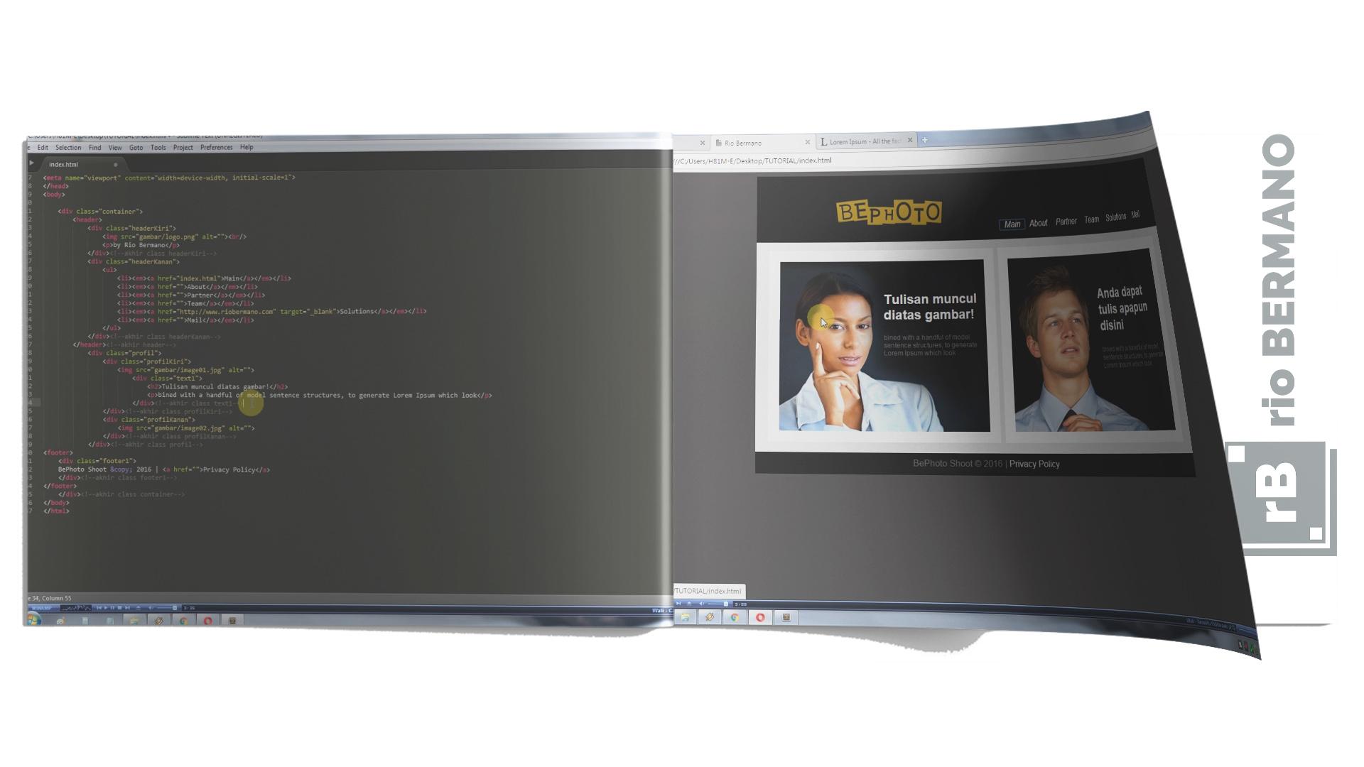 cara membuat text menimpa gambar html css - rio bermano