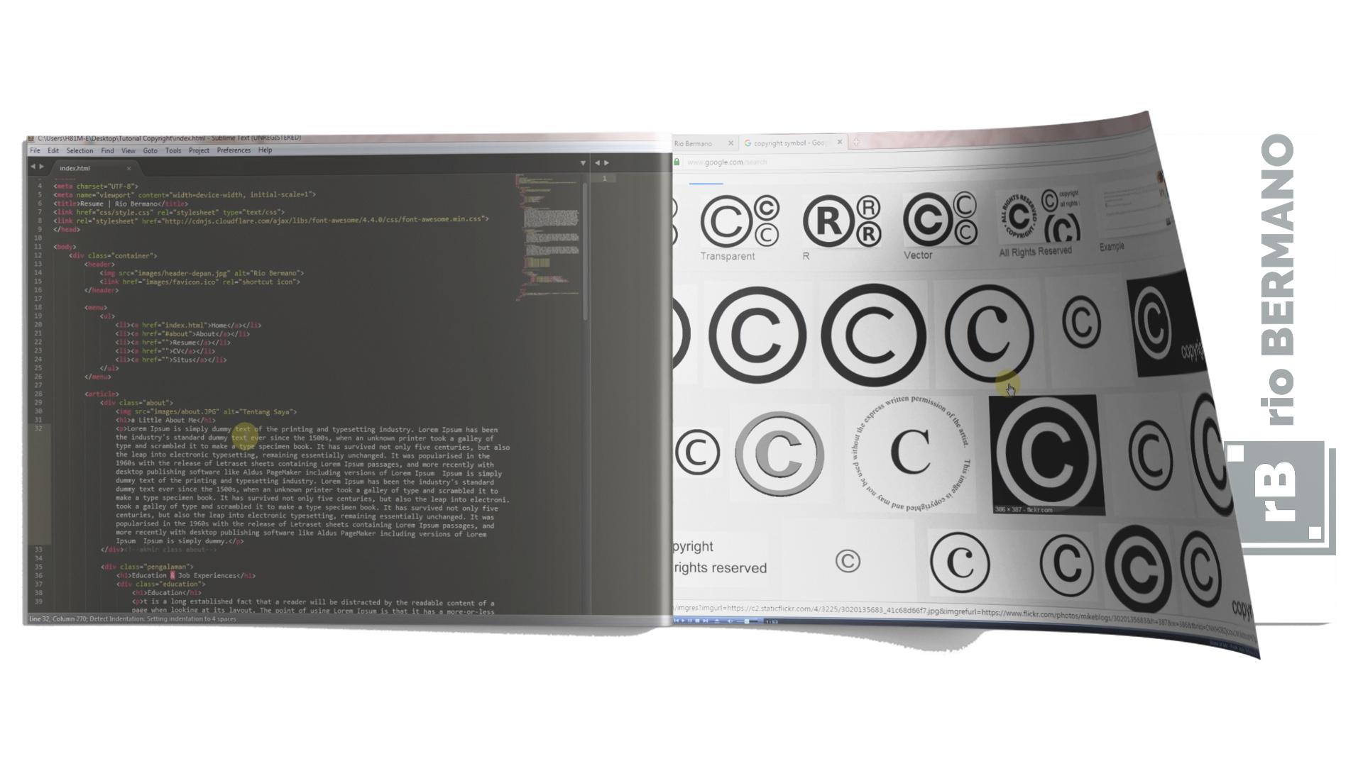 cara membuat simbol copyright di html - rio bermano
