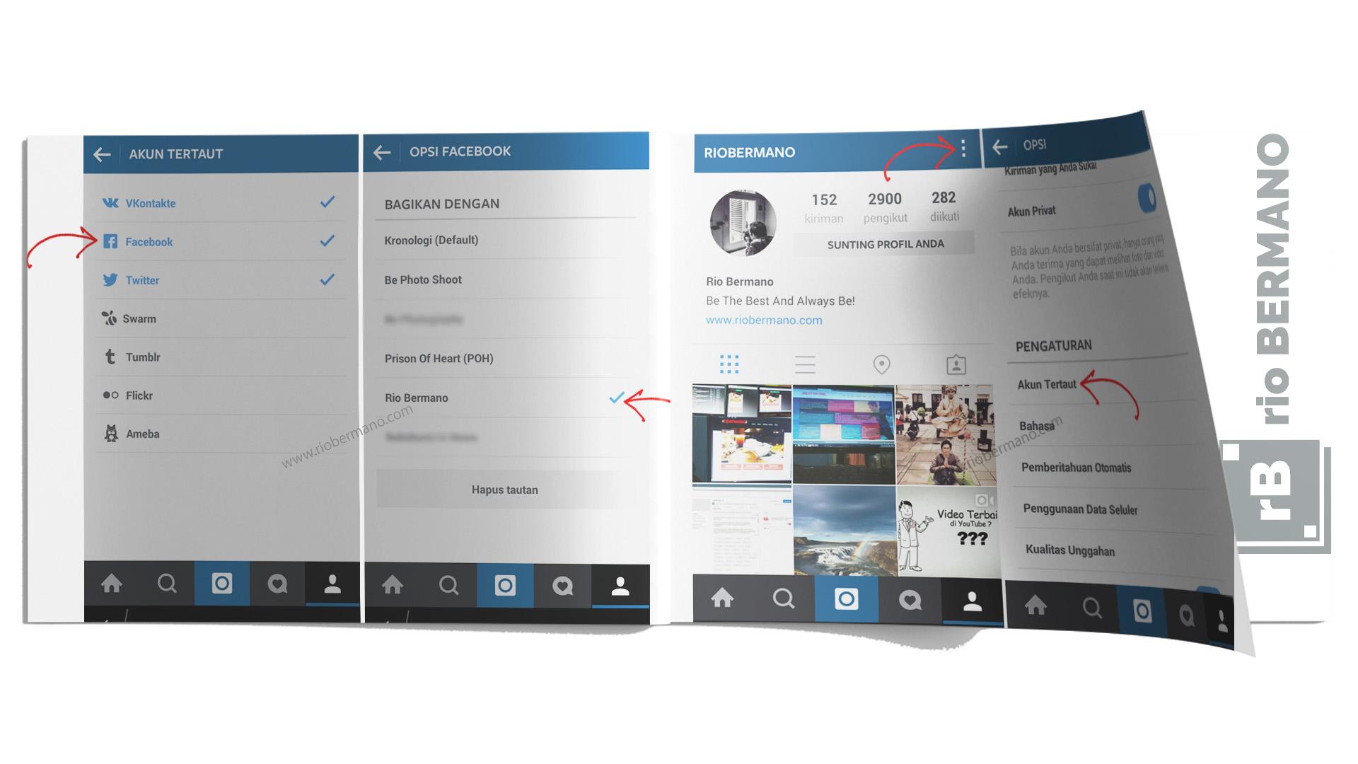 cara menautkan medsos lain ke instagram - rio bermano