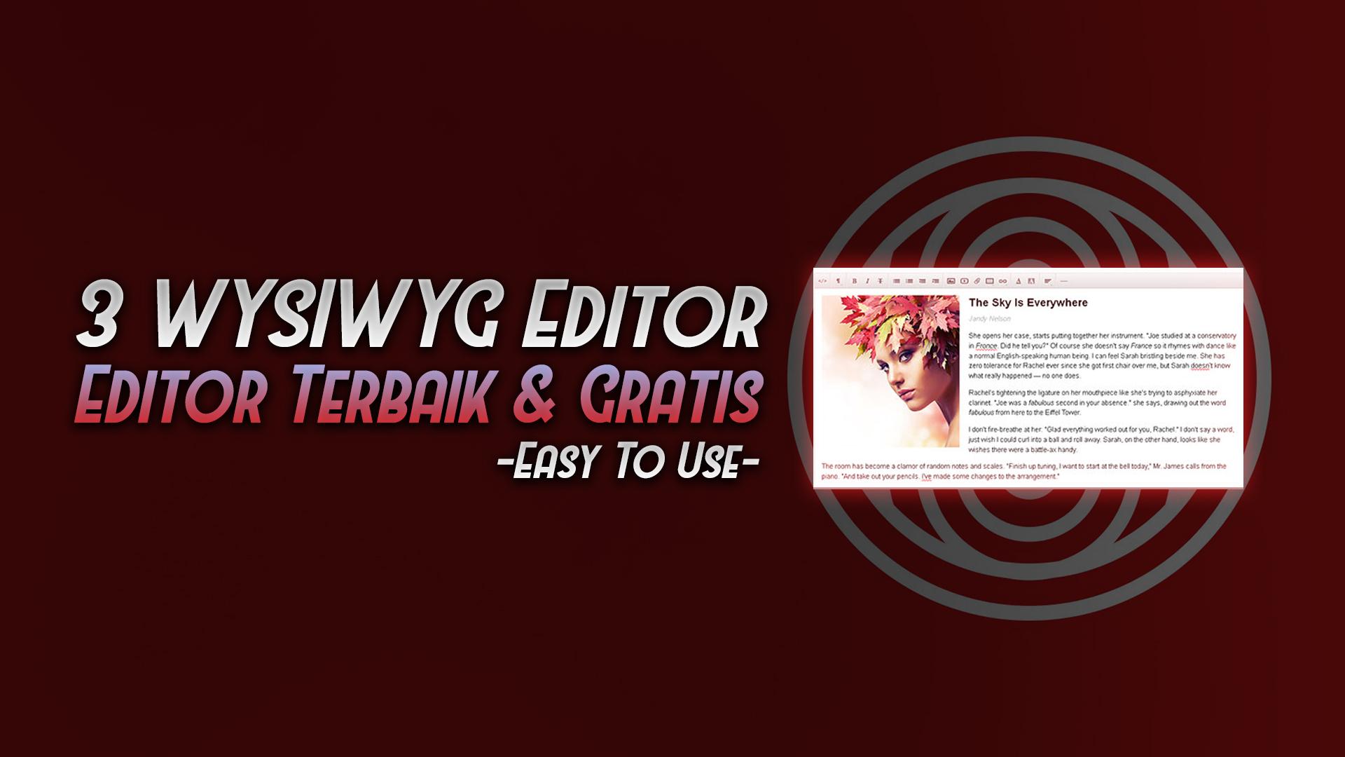 3 wysiwyg editor html terbaik gratis - rio bermano