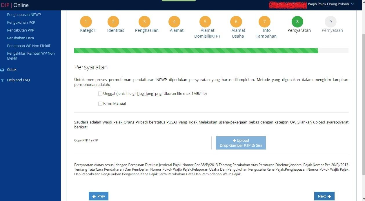 cara mendaftar npwp online e registration - rio bermano
