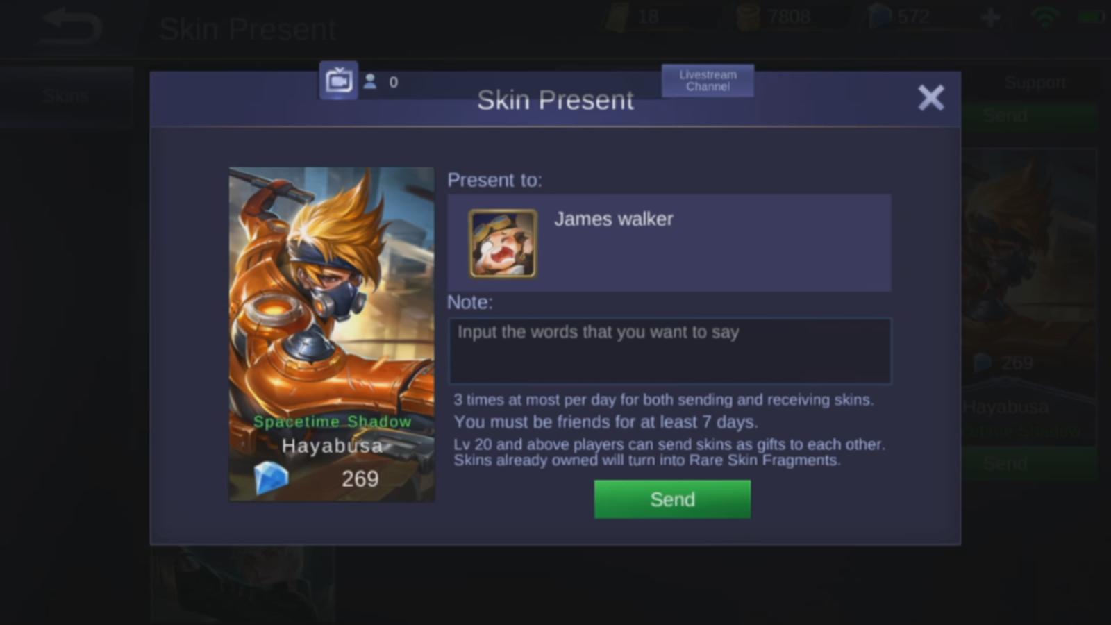 cara memberi hadiah skins mobile legends - rio bermano
