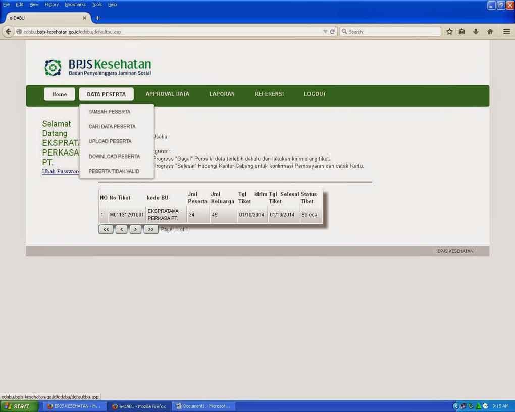 login dan daftar e-dabu bpjs kesehatan online - posciety