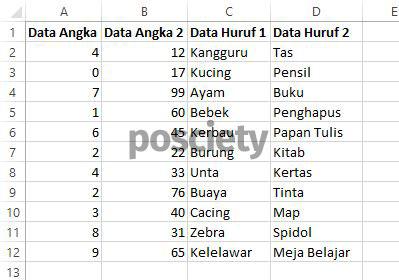 contoh data excel