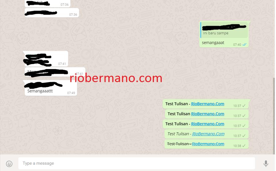 tulisan tebal miring dicoret whatsapp - rio bermano