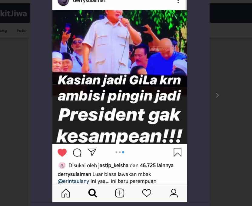viral istri andre taulany erin taulany bilang prabowo sinting - posciety